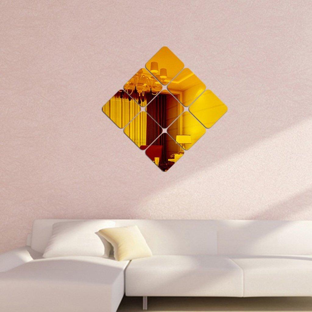 14x14 cm Argento D DOLITY 6 Pezzi Quadrato Specchio Adesivo Parete Specchio Casa Decorazione Accessori