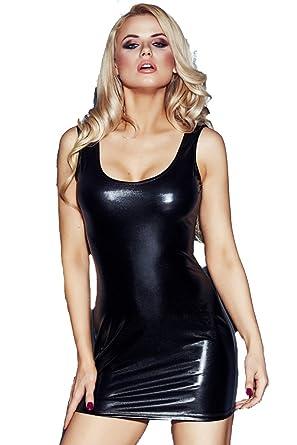 Erotisches wetlook Kleid in schwarz dehnbar / enges Dessous ...