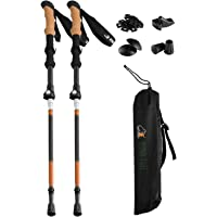 Ryno Tuff Trekking Poles, Fits Inside A Backpack, Durable 7075 Aluminum Hiking Pole with Natural Cork Handles and EVA Grips, Ultralight, Expandable, Collapsible and Foldable, Set of 2 Walking Sticks