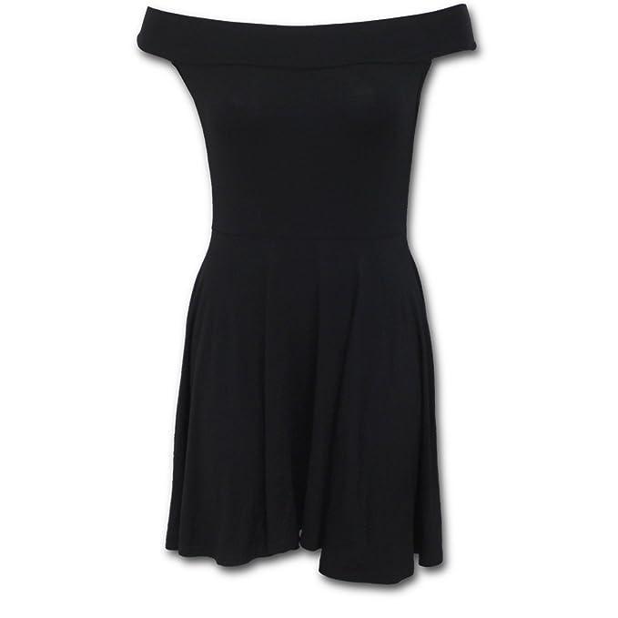 Moda urbana, vestido patinador básica de metal gótico de la fantasía con negro escote Bardot