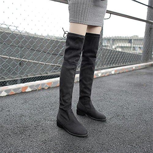 Confortables Fourrure Noir Chaussures Mi Femmes De Bottines L'hiver Uh mollet Suede À Pour Scratch Basse Bout Plates Rond Talons Avec q1B5Cawxg