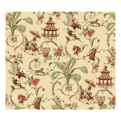 Classic Wallpaper - York Wallcoverings WA7770 Waverly Classics Mandarin Prose Wallpaper, Ecru/Cocoa/Tomato/Buff/Sage/White