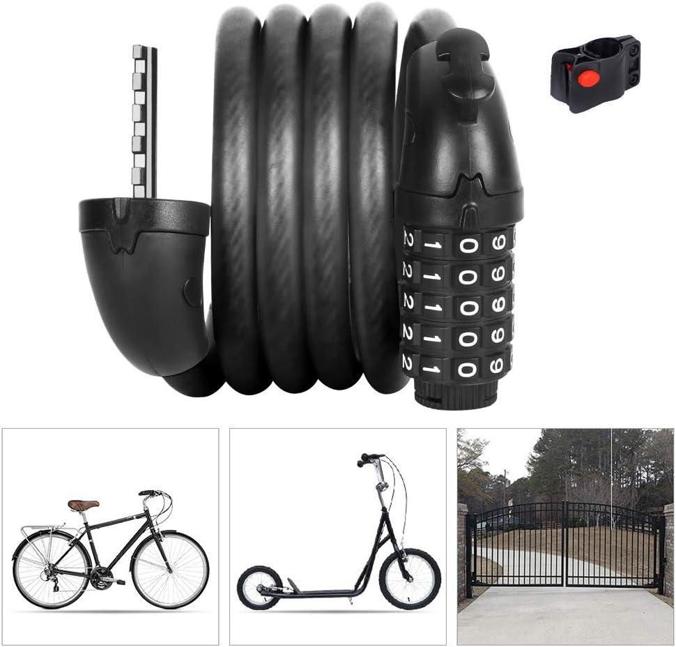 LieYuSport Candado Bici Contraseña de 5 Dígitos Alta Seguridad con Abrazadera de Soporte,Resistente al Desgaste Cilindro de Bloqueo de Aleación de Zinc Cadena Bicicleta para Candado Moto etc: Amazon.es: Deportes y aire