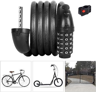 LieYuSport Candado Bici Contraseña de 5 Dígitos Alta Seguridad con ...