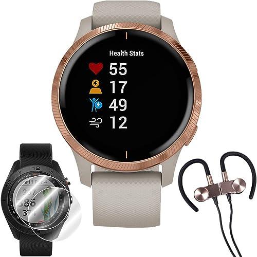 Garmin Venu Amoled GPS Smartwatch Rose Gold,Light Sand Band Wireless Earbuds More