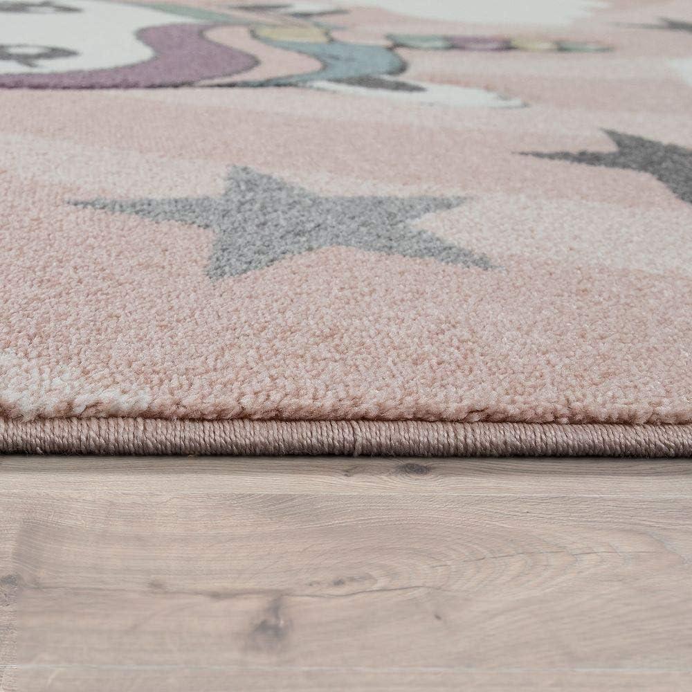 Dimension:120x170 cm Paco Home Tapis Enfant Chambre Enfant Filles Moderne Licorne sur Nuages Rose Violet