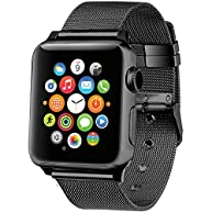 Apple Watch Band,GEOTEL Apple Watch Accessories iWatch Band Strap Milanese Loop Stainless Steel Band with Classic Buckle for Apple Watch Series 2 Series 1,Nike+,Hermes,Sport&Edition (38mm-BLACK)