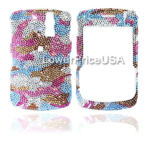 Blackberry 8300 Genuine Swarovski Crystal (7ss) Pink Camouflage Design Faceplate Cover (Swarovski Crystal Cover Faceplate)