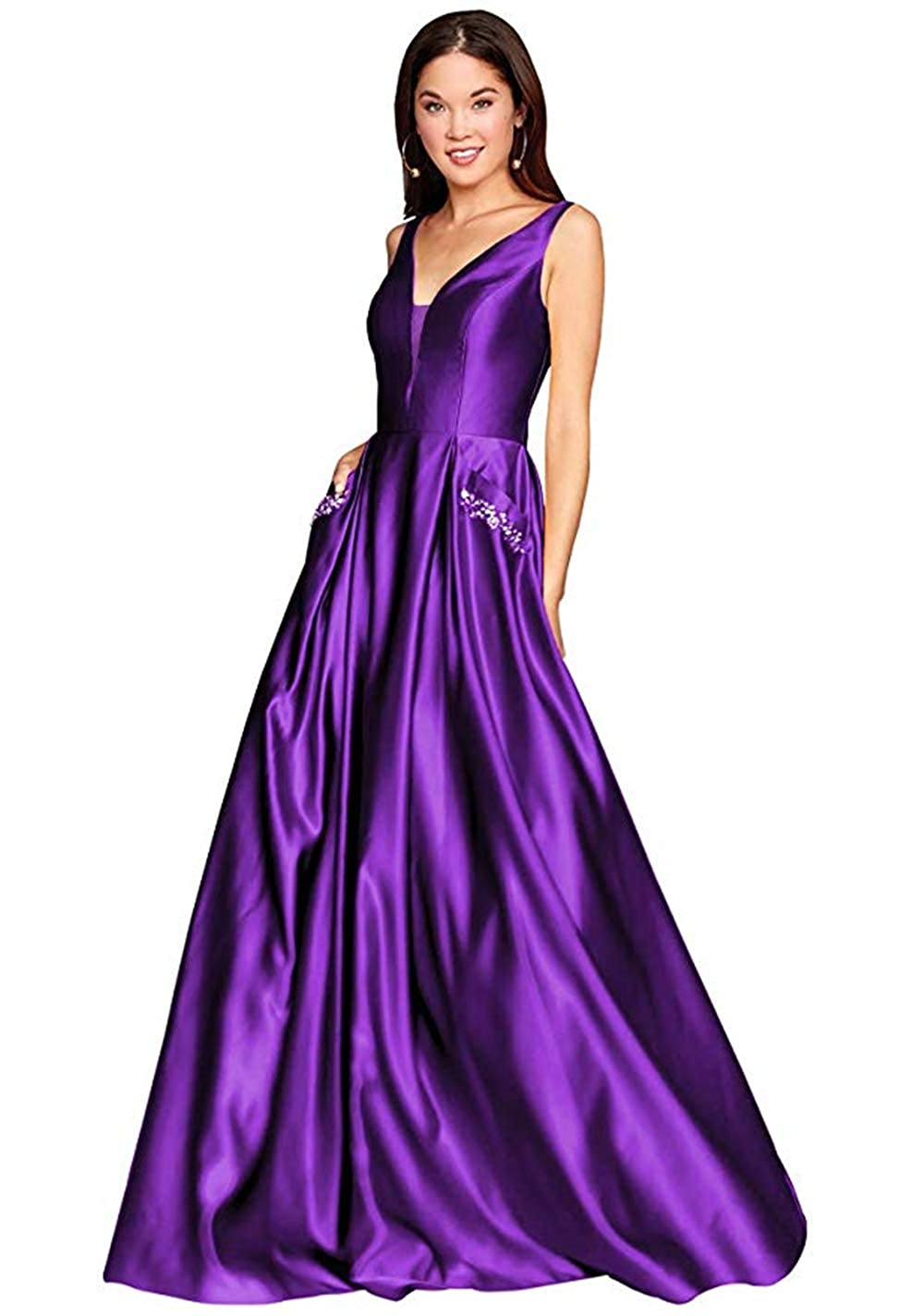 01lavender PROMNOVAS Women's V Neck Backless Beaded Satin Prom Dress Long Formal Evening Gown with Pockets
