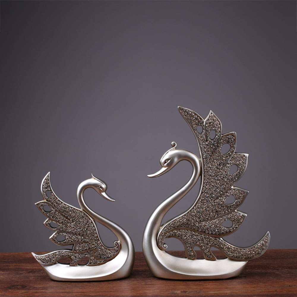 KINGZHUO Home Decoration Swan 1 Pair Couples Swan Resin Handicraft 2 Pcs Cabinet Closet Decor Artware Decorative Silver