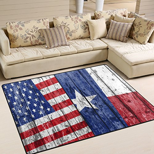 Naanle Unique American Flag 4th of July Independence Memorial Day Patriotic Freedom Stripe Stars Area Rug Pad Non-Skid Kitchen Floor Mat for Living Room Bedroom 5'x7' Doormats Home Decor
