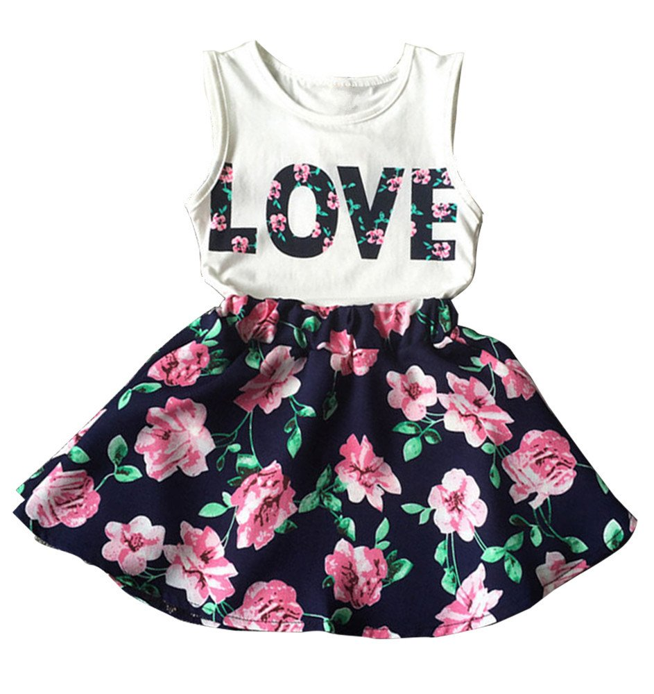 Kids Baby Girl Love Print Tank Tops + Floral Flowers Skirt Dress Clothes Outfits Aliven
