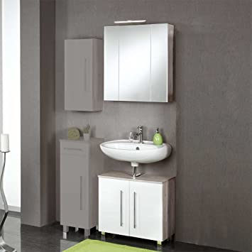 Pharao24 Möbel Set Maragas für Badezimmer Weiß Hochglanz Eiche Grau ...