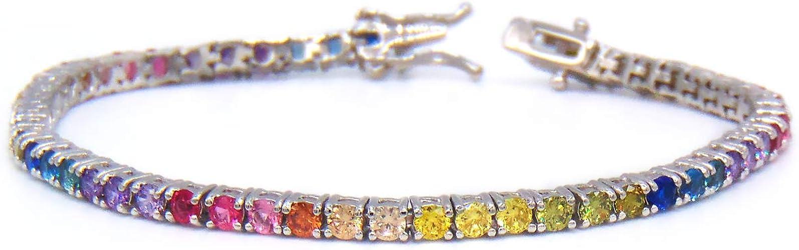 Multicolor CZ Rainbow Round Cut Tennis Bracelet 14K Yellow Gold Over Silver 925