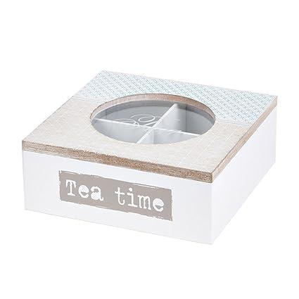 Caja para té (4 compartimentos cuadrado blanco madera con cristal de cocina para guardar