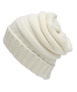 SVEN HOME Soft Slouchy Beanies Knit Warm Winter Unisex Cap Thick Women's Men Hat (White)