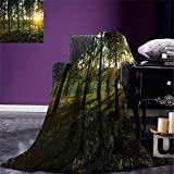 smallbeefly Forest Digital Printing Blanket Sunset in the Woods Theme Autumn and River Comes into View at Distances Summer Quilt Comforter Dark Green and Yellow