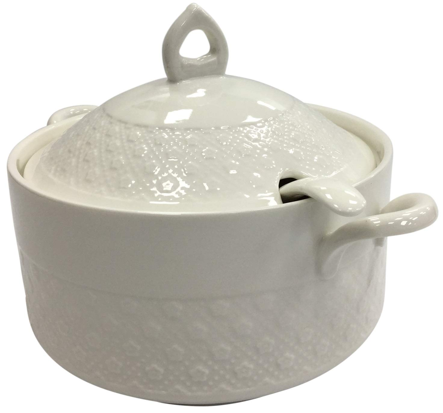 Porcelain Soup Tureen Bowl with Handles 2L White Classic with Matching Ladle