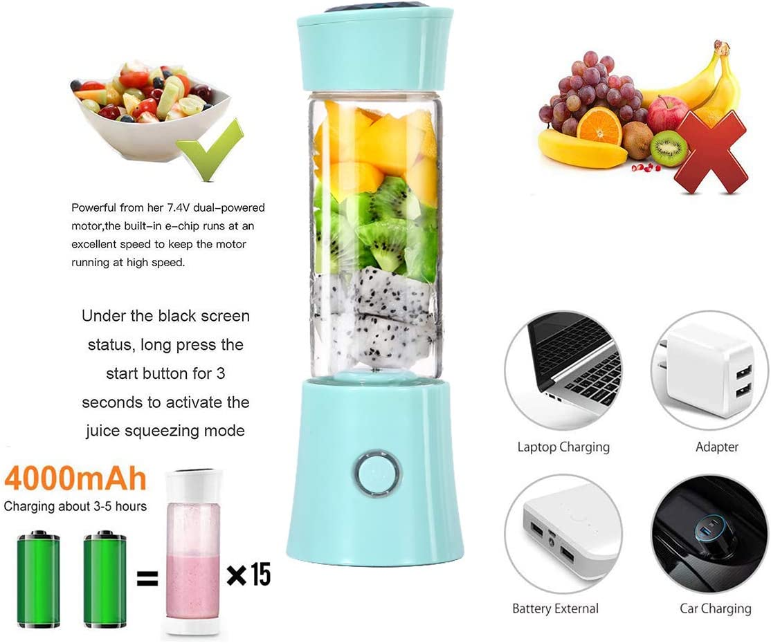 Aumsa - Licuadora portátil para el hogar, mini batidora personal con botella de agua de viaje de 480 ml, recargable por USB y 6 cuchillas para el hogar, oficina, deportes, viajes, al
