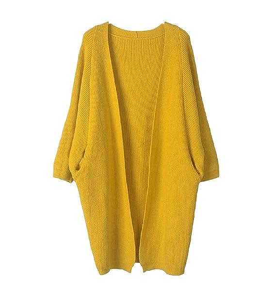 Zhrui Abrigo Largo y Elegante Mujer Chaqueta otoño Invierno Amarillo (Color : Amarillo, tamaño