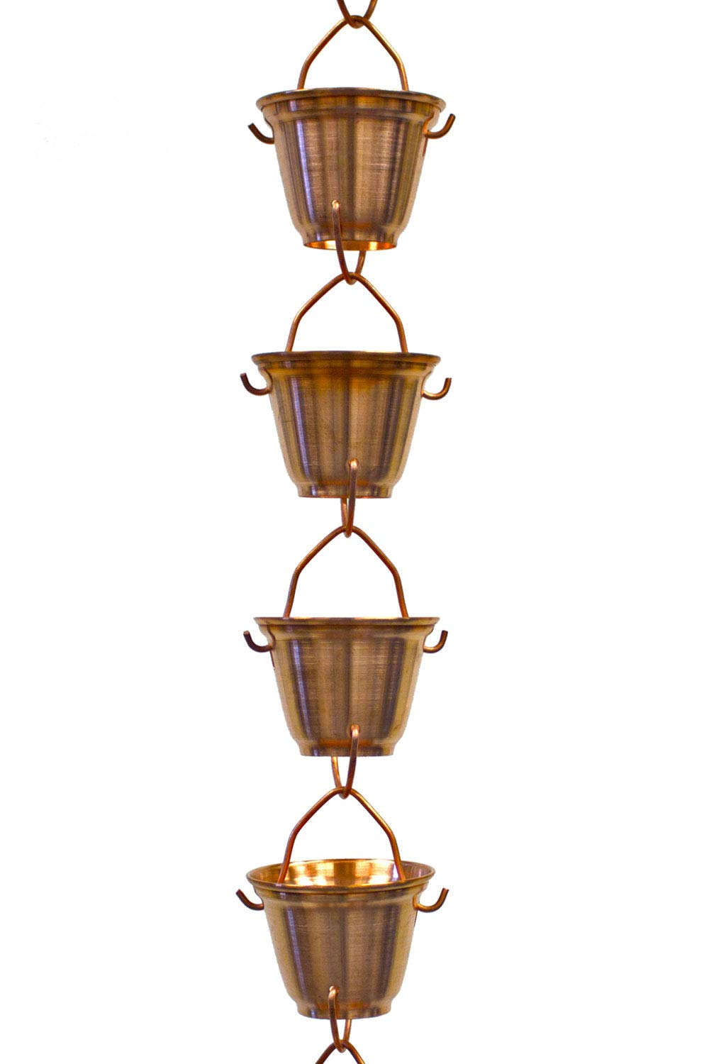 Nutshell Stores Shizuka Cups Copper Rain Chain with Installation Kit (16 Foot)