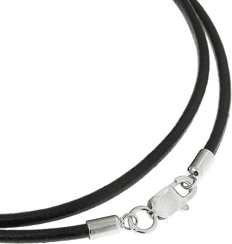 3mm Negro Cuero Trenzado Cordón Collar de plata esterlina 925 Broche 8 longitudes