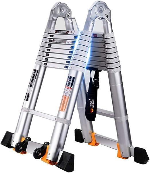 LY-JFSZ Escalera de Escalera Escalera telescópica Escalera en Espiga Escaleras Escalera de aleación de Aluminio Escalera multifunción Escalera de ingeniería de elevación 2.8+2.8m: Amazon.es: Hogar
