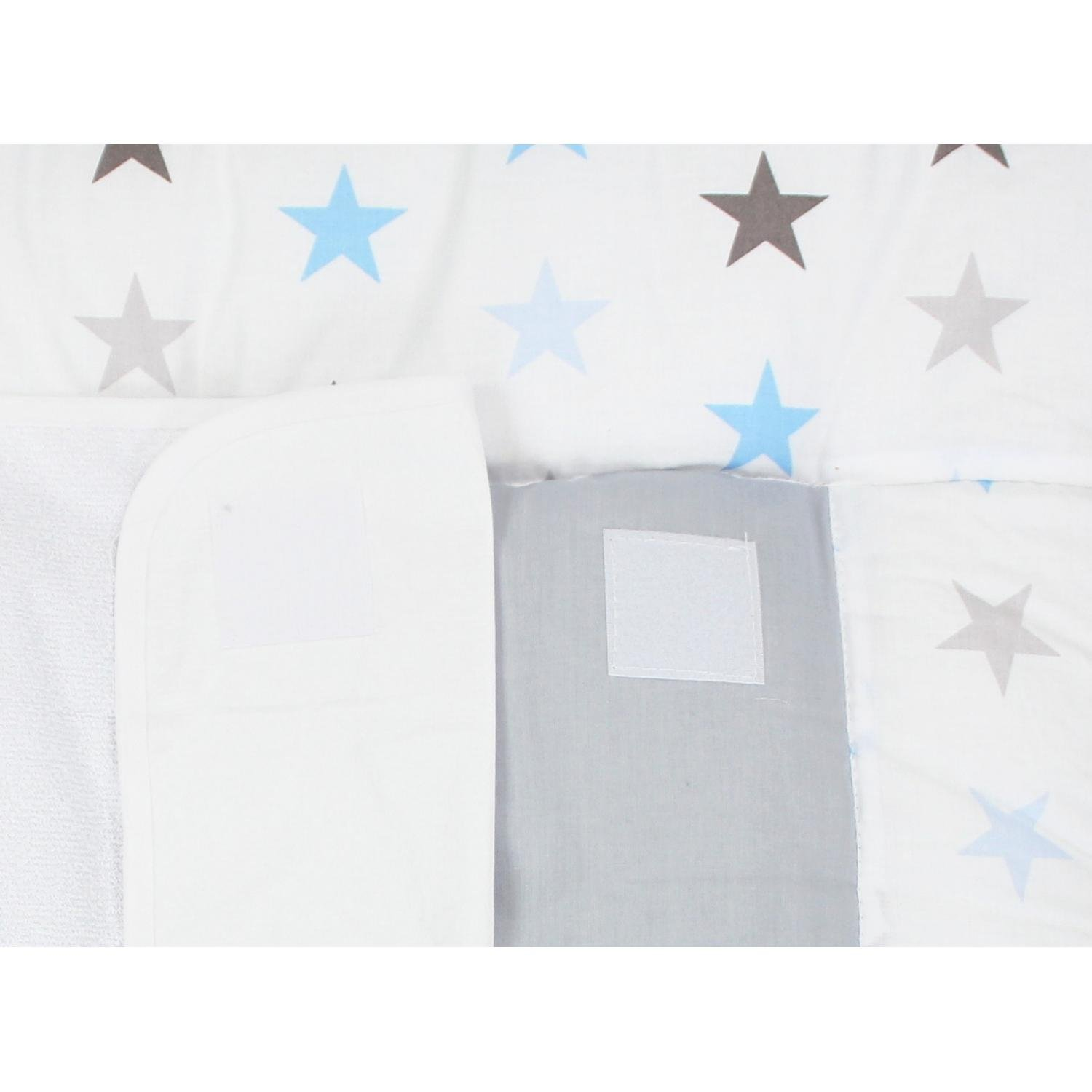 TupTam Baby Changing Mat with 2 Removable Terry Cloths Gray Big White Stars 70 x 70 cm