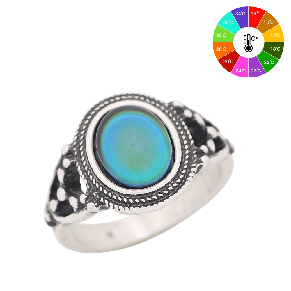 Mojo Bohemia Steampunk Style Antique Sterling Silver Plating Color Change Mood Ring for Women MJ-RS006 (7)
