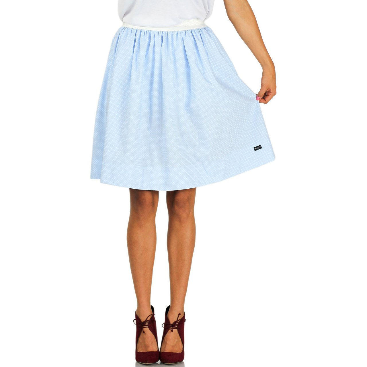 FOXERS Light Blue Dot Skirt With Pockets
