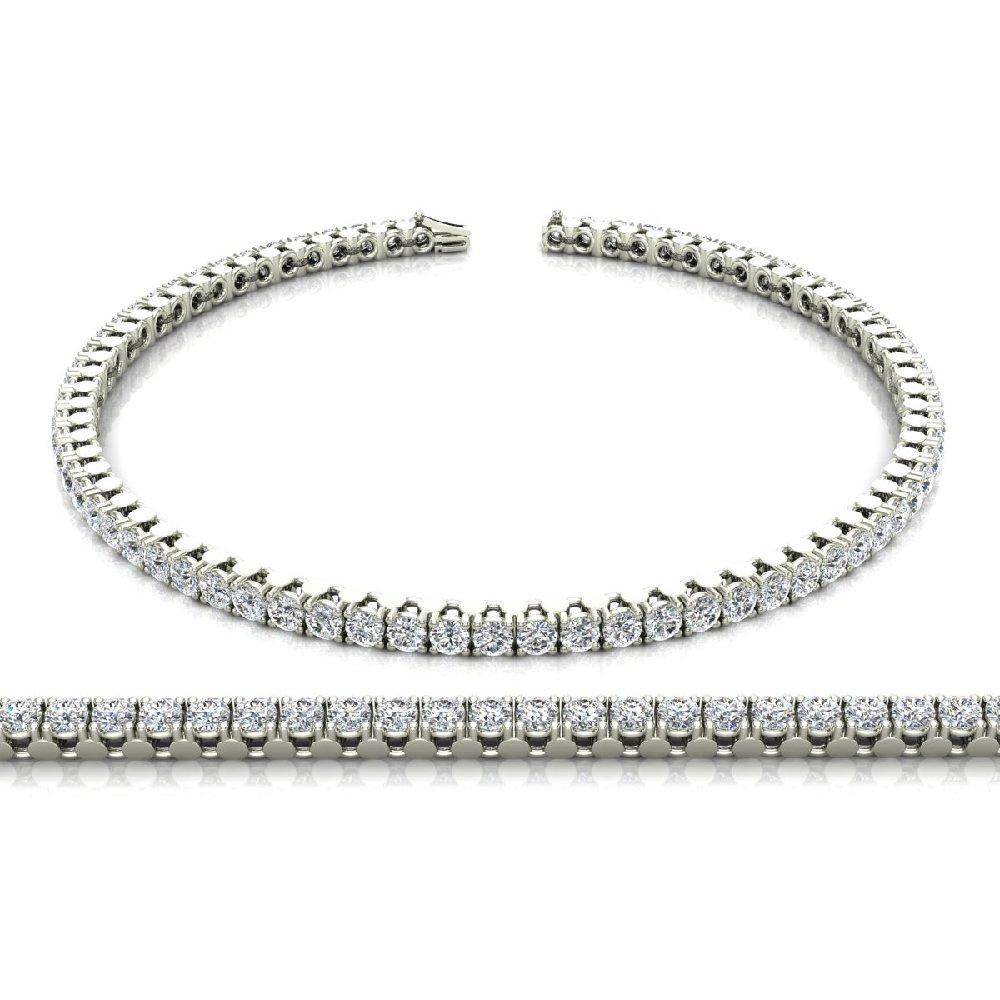 Women's Diamond Tennis Bracelet in 14K Gold 7 inch length (3.75 ct) (I,I1) (white-gold)