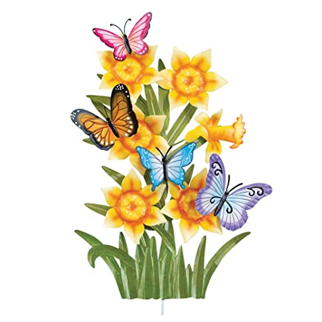 Amazon.com : Daffodil & Butterflies Decorative Metal Outdoor Spring ...