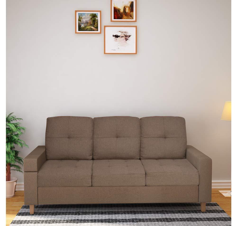 @Home By Nilkamal Liliana Three Seater Sofa Cum Bed (Brown)