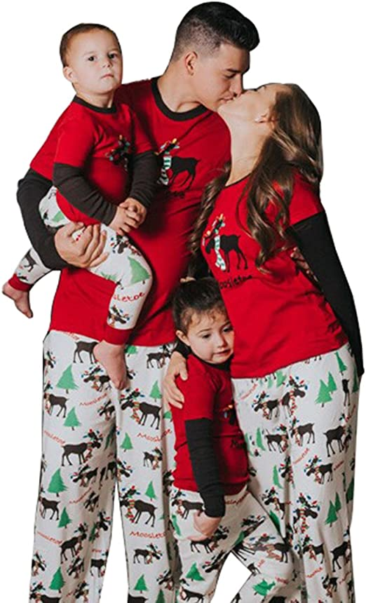 Moore Christmas Family Pajamas Set Dad Mom Kids Deer Matching Outfits  Sleepwear