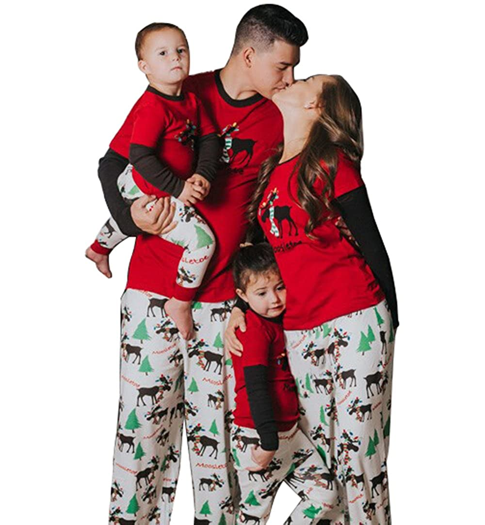 e73043773dec Moore Christmas Family Pajamas Set Dad Mom Kids Deer Matching Outfits  Sleepwear  Amazon.ca  Clothing   Accessories