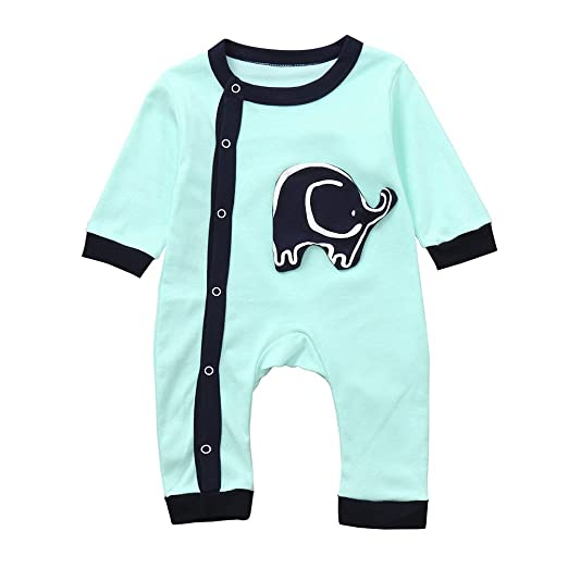 af12a2693f3 Fineser Baby Boy Girl Cartoon Elephant Print Romper Infant Kids Cute Jumpsuit  Outfits Clothes (Blue