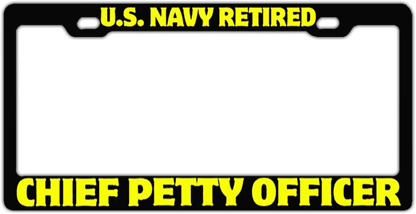 Car Tag Frame License Plate Cover Holder US Navy Retired Chief Petty Officer Black Customized License Plate Frame Auto Car Truck for US Standard and Screws