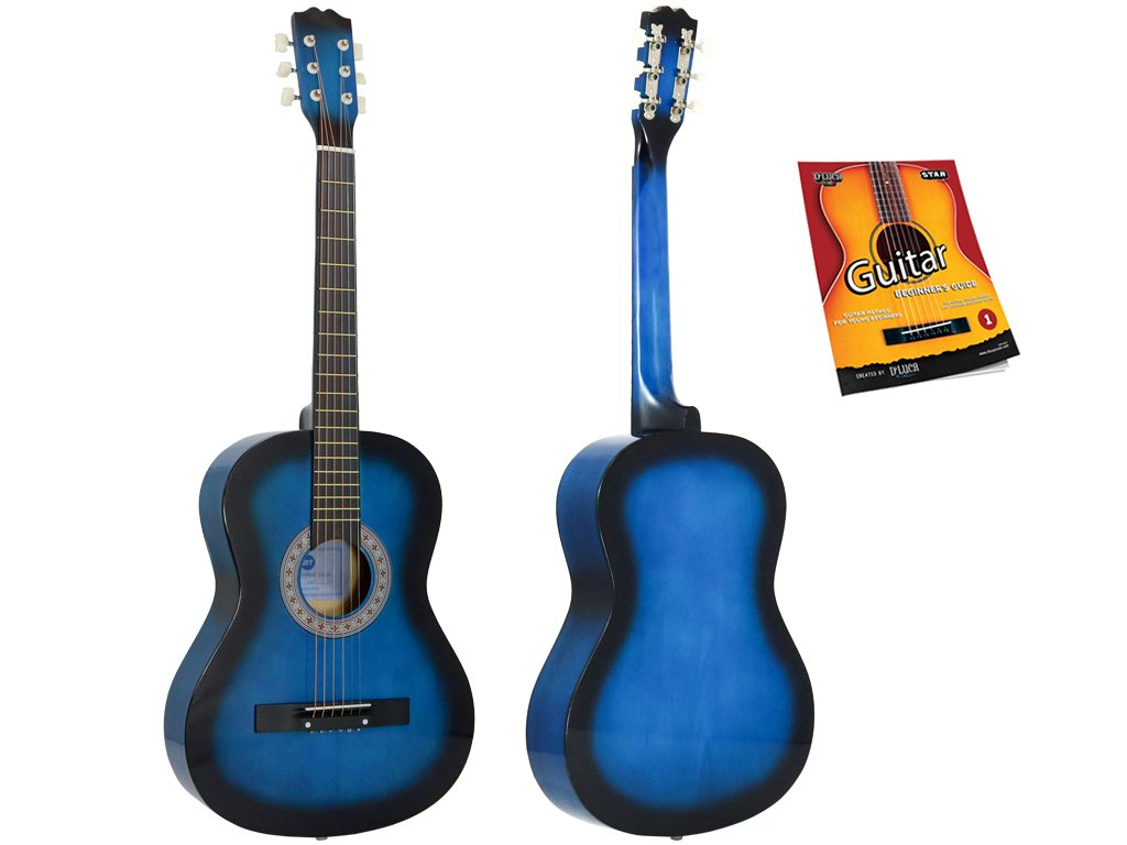 Star Acoustic Guitar 38 Inch with Beginner's Guide, Blueburst