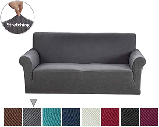 1 2 Jacquard CHOCOLATE BROWN Sofa Cover Settee Slip Cover 3 Seater