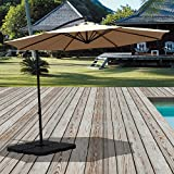 PATIOROMA 10 Feet Aluminum Offset Hanging Patio Umbrella with Crank and Cross Base, 8 Steel Ribs, Beige