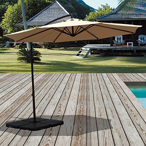 PATIOROMA 10 Feet Aluminum Offset Hanging Patio Umbrella with Crank and Cross Base, 8 Steel Ribs, Beige Review
