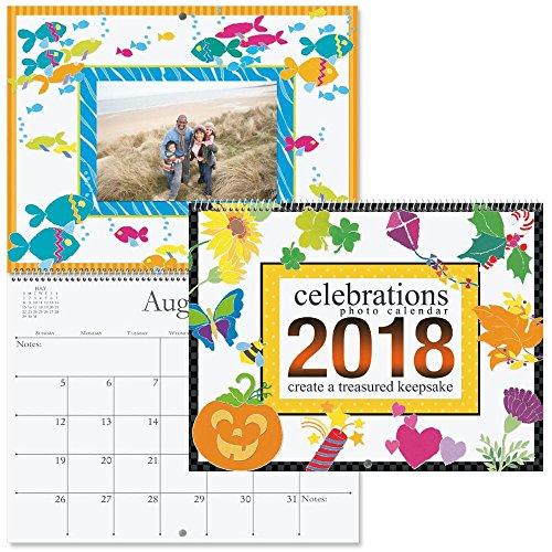 "Hot 2019 Celebrations Photo Scrapbook Calendar -12""W x 9""H closed; Photo-ready designed 12 month frames hot sale"