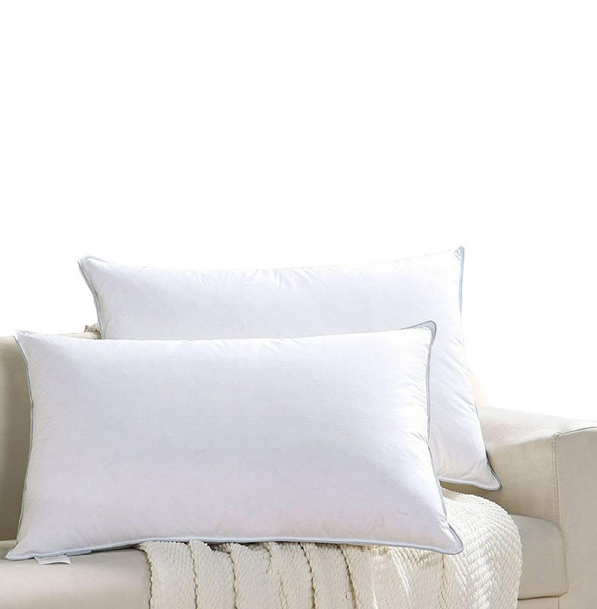 Coozii Goose down pillow(2-pack,Queen,Soft) 100% Egyptian Cotton Cover,1200 Thread Count,Bed pillows for Sleeping