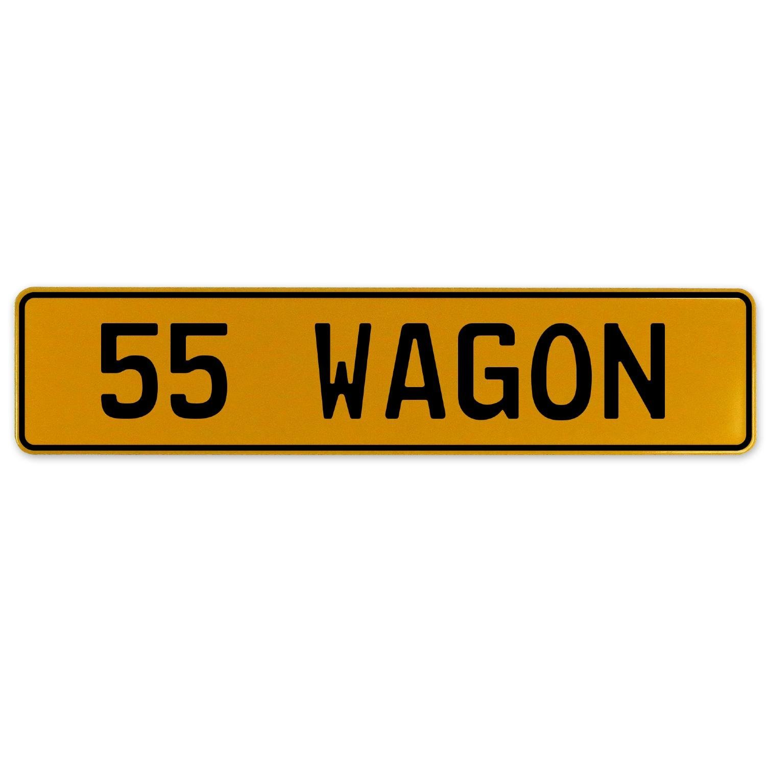 Vintage Parts 563266 55 Wagon Yellow Stamped Aluminum European Plate