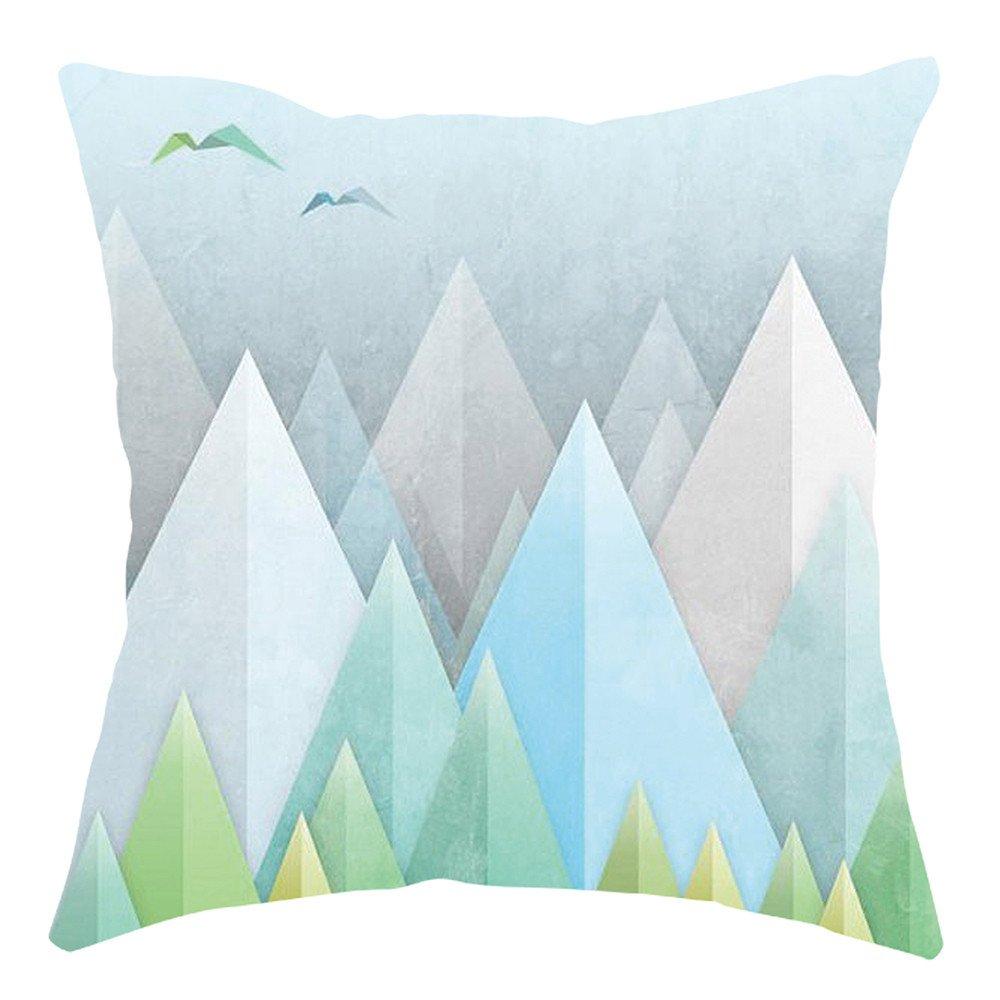 Pgojuni Home Cushion Cover Geometric Throw Pillow Cover Square Accent Cushion Cover Pillow Case for Sofa/Car/Bed 1pc (H)