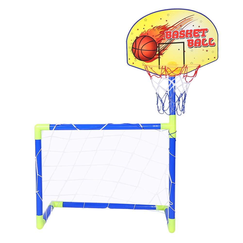 Dilwe バスケットボールとサッカーのスポーツゴールセット ポータブル キッズ サッカーゴールバスケットボールキット アクセサリー付き 子供用 おもちゃ ギフト 遊び   B07JCGBR2P