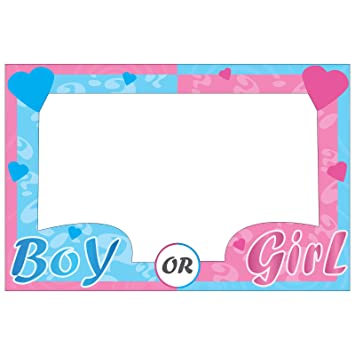 Boy Girl Gender Reveal Baby Shower Selfie Photo Frame Prop Large