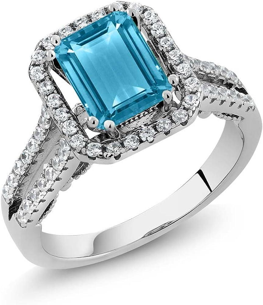 925 Silver Blue Topaz Gemstone ring Blue topaz gemstone ring Wedding ring,Valentine gift Pave diamond designer ring