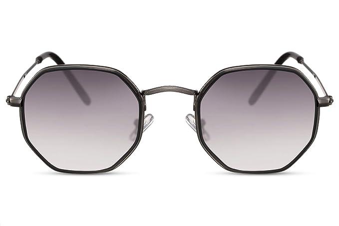 Cheapass Gafas de Sol Pequeñas Octagonal Sunnies Metal Mirrored protección UV400 Hombres Mujer