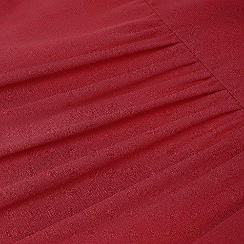 Maniche Corta Scollo V Tunica Vino a Solido Casuale Elegante Abbigliamento Manica Camicetta Maglietta Donne Plissettata Top Damark Vestiti TM Senza Estate wgqxPp4Az